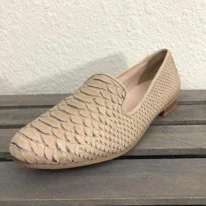 Cole Haan Loafers Sz 7B Beige Leather Snake Print